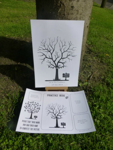 LARGE chalk inspired FINGERPRINT TREE guest book A3 PERSONALISED WEDDING