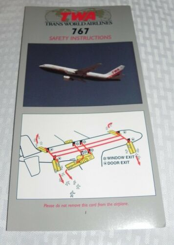 TWA BOEING 767 SAFETY INSTRUCTIONS CARD EXCELLENT CONDITION 6//97 NOS