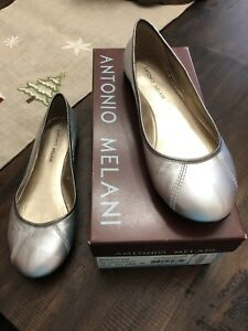 Antonio Melani Shoes Flats 8.5 Silver