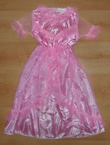 Kinder-Maedchen-Kostuem-Prinzessin-Fee-Satin-Tuell-Prinzessinnen-Kleid-Rosa-M-6-8-J