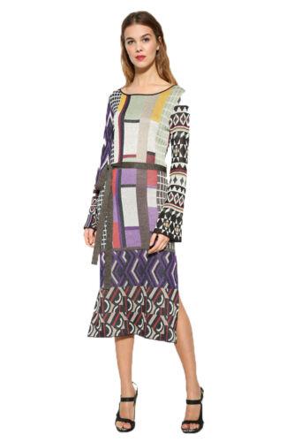 Desigual Multi-coloured Patchwork Sparkly Celeste Dress XS-XXL UK 8-18 RRP �129