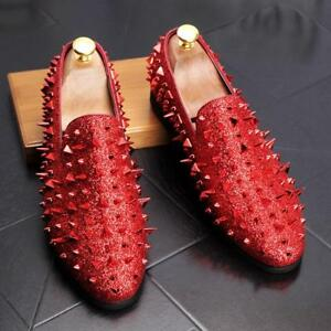 e0049e14b50 Mens Spike pointy Toe Punk Studded Rivet Loafers casual dress shoes ...