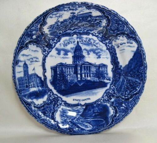 "Views of Denver Colorado Flow Blue 9"" Plate Made in England"