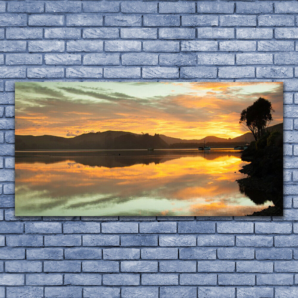 Print on Glass Wall art 140x70 Picture Image Water Mountains Landscape