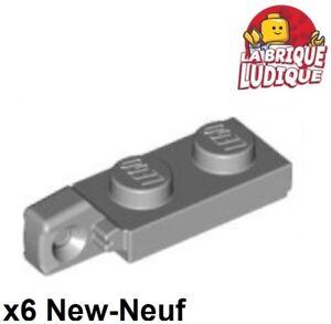 Lego - 6x Charnière hinge plate lock 1x2 gris/light bluish gray 44301 44302 NEUF
