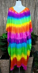 Plus-Size-Long-Rainbow-Mix-Tie-Dye-Maxi-Kaftan-Dress-Size-20-22-24-26
