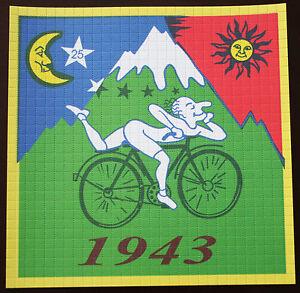 albert hofmann bike ride 1943 large blotter art top quality not