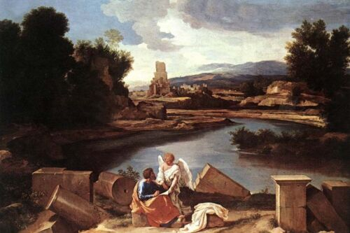 Dream-art Oil painting Landscape with St Matthew and the Angel hand painted art