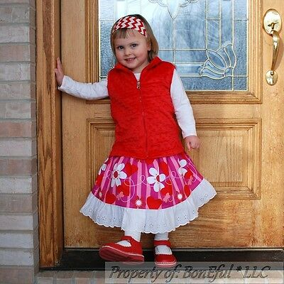 BonEful RTS NEW Boutique Girl 4//5 Hello Kitty Shirt Red Top Bow Ruffled Pant Set