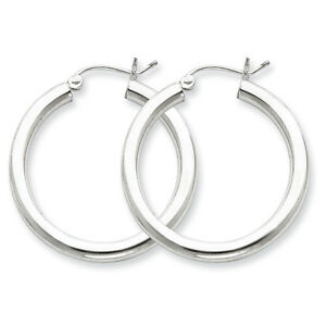 925-Sterling-Silver-Rhodium-Plated-3mm-x-30mm-Round-Polished-Hoop-Earrings
