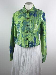 Sandy-Starkman-Iridescent-Sequin-Yoke-Silk-Button-Down-Jacket-Green-Blue-India-M