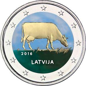 Lettland-2-Euro-2016-Milchwirtschaft-Muenze-Braune-Kuh-Muenze-in-Farbe