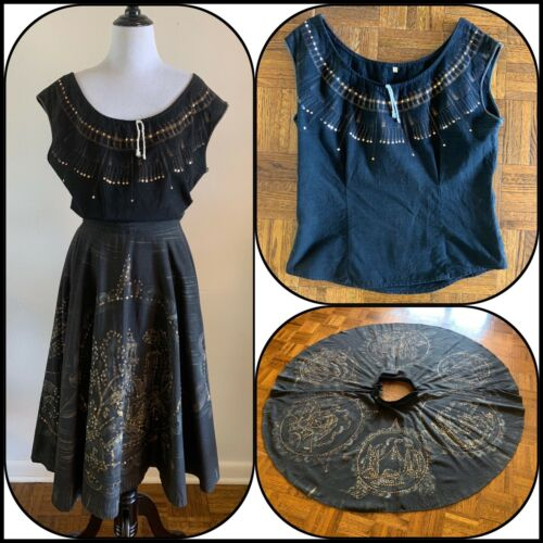 50s Mexican CIRCLE SKIRT Set Hand Painted Sequin S