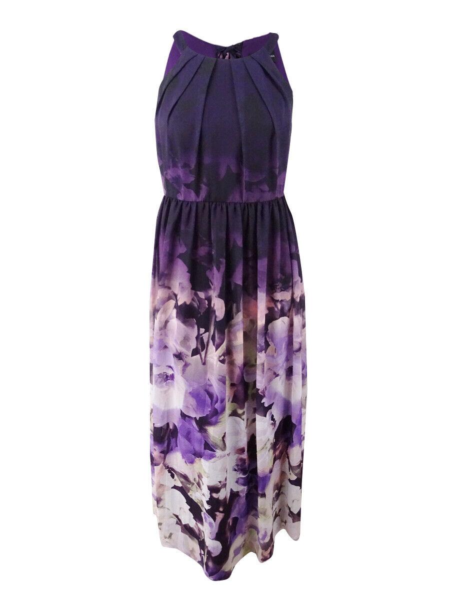 Betsy & Adam Woherren Plus Größe Floral-Print Halter Gown