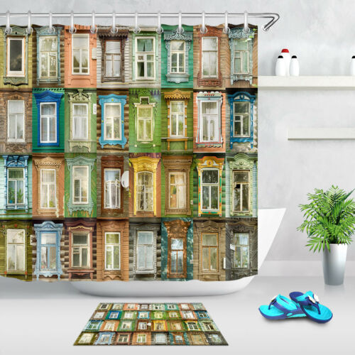 Vintage Russian Town Variety Windows Shower Curtain Liner Polyester Fabric 180cm
