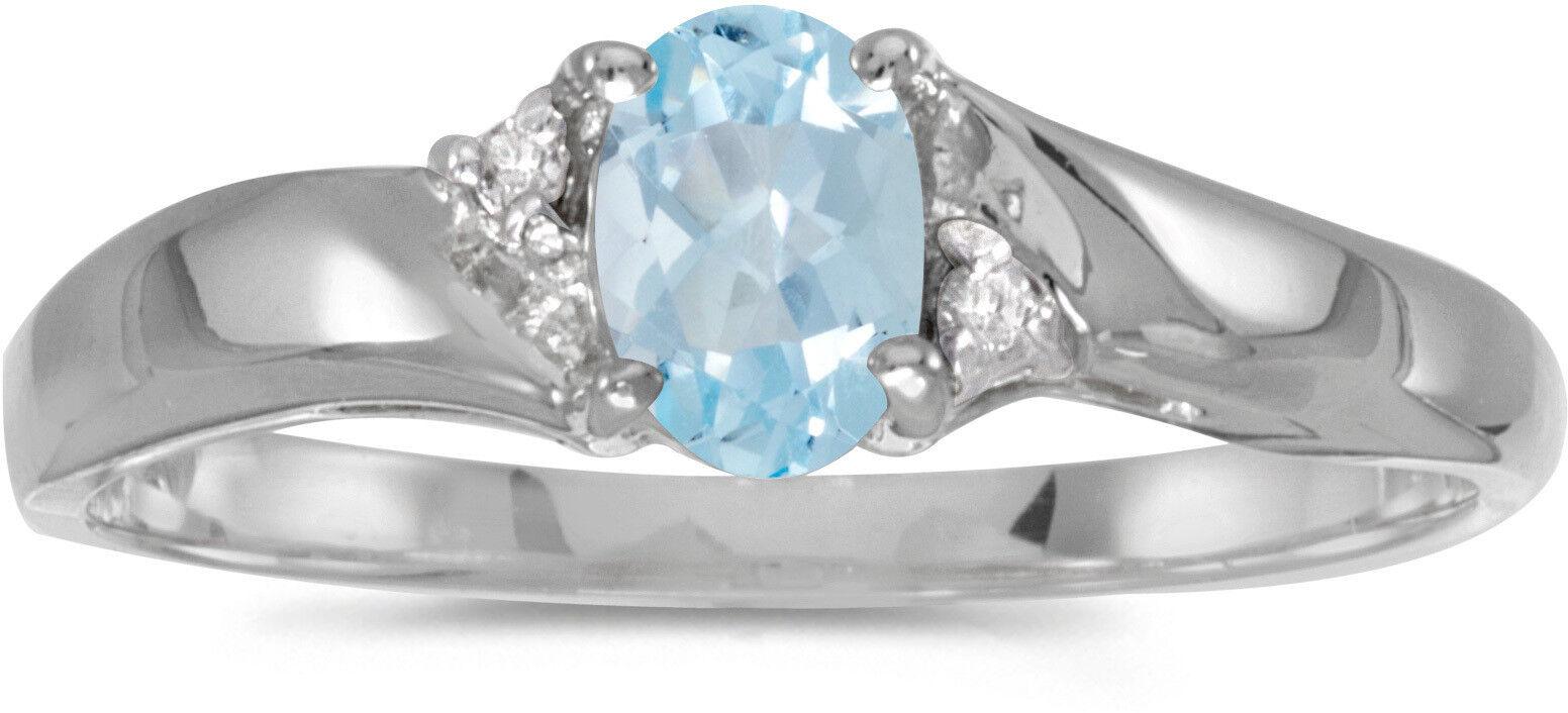 10k White gold Oval Aquamarine And Diamond Ring (CM-RM1503W-03)
