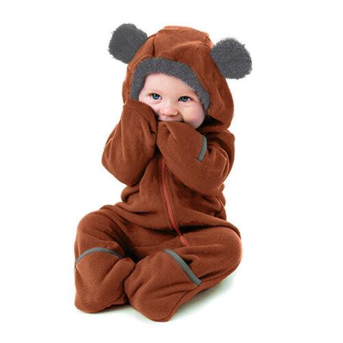 Infant Toddler Baby Kid Girl Boy Cartoon Ears Hoodie Romper Zip Clothes Jumpsuit
