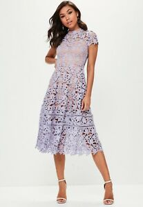 Details About Missguided Short Sleeve Lace Midi Skater Dress Size 8 Uk Bnwt Rrp 5299 Mauve