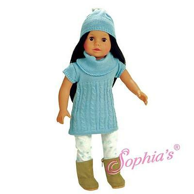 "Cable Knit Sweater Dress, Hat & Snowflake Leggings fit 18"" American Girl Doll"
