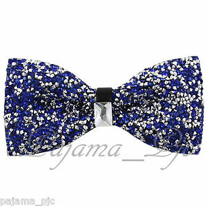 Fashion-Royal-Blue-Diamonds-Glitters-Rhinstone-TUXEDO-BOW-TIE-Wedding-Party