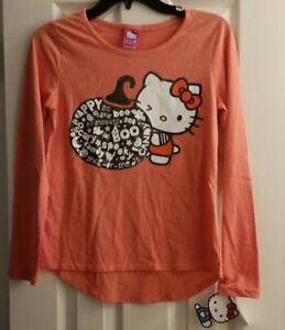b23d8953 New ! Girls Hello Kitty Halloween Shirt Long Sleeve Sparkle Pumpkin ...