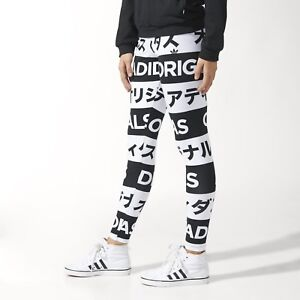 Details about Adidas Originals TYPO LEGGINGS KATAKANA Tight Yoga Running Gym Pants~Womens sz S
