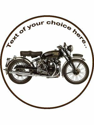 """Classic Vintage Motor bike Edible Topper Wafer or Icing 7 1//2/"""" round cake topper"""