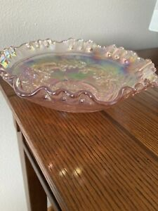 """Imperial Carnival Glass Iridescent Pink BowlWindmill 2 1/2"""" Tall 8"""" Across"""