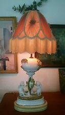 Antique Art Nouveau 1880s MOORES BROTHERS Cherubs blooming cactus lamp Meissen