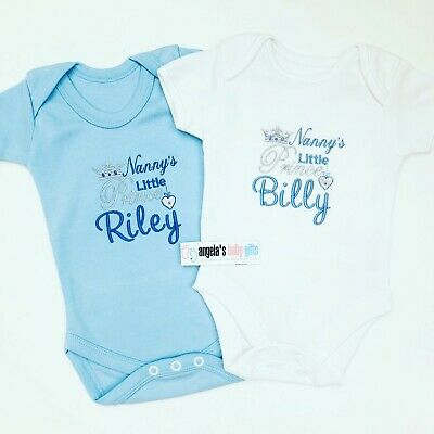 PERSONALISED boys baby clothing PRINCE CROWN vest babygrow baby shower gift BLUE