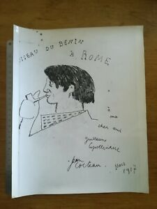 PHOTO-ANCIENNE-VINTAGE-29X22-CM-DESSIN-JEAN-COCTEAU