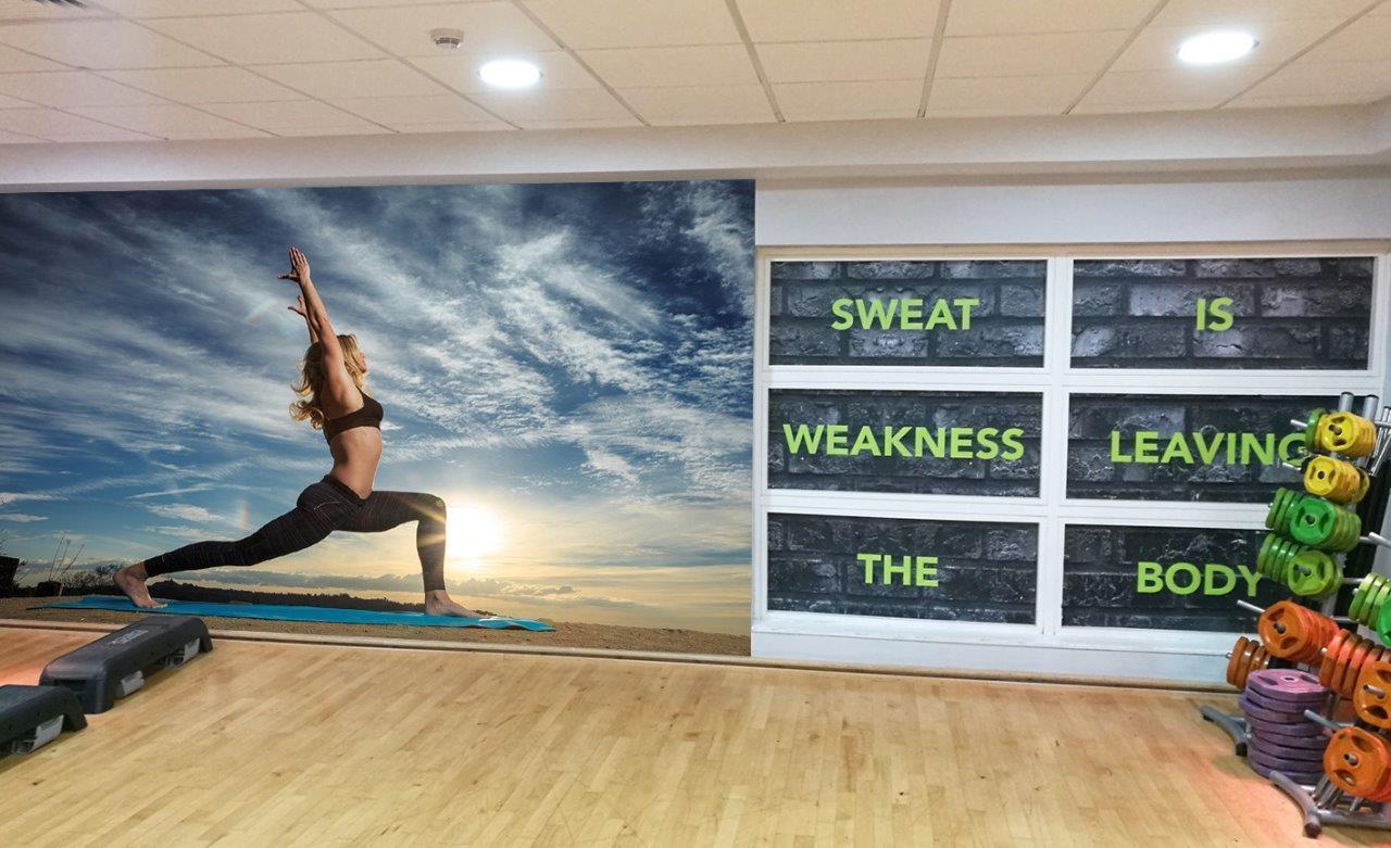 Yoga Sunrise Wallpaper Woven Self-Adhesive Wall Art Mural Decal M229