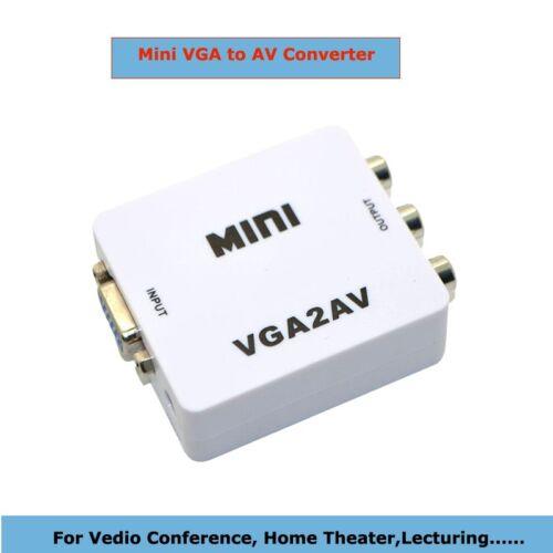 1080P Mini Digital VGA to RCA AV TV CVBS Converter with audio for PC laptop