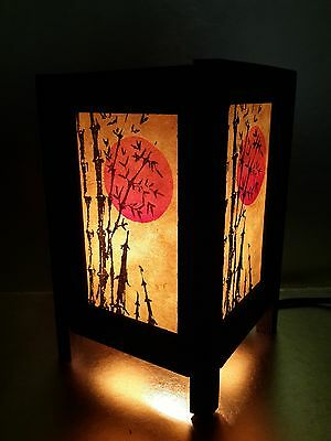 Asian Oriental Japanese Sunset Zen Art Bedside Table Lamp Wood Shades Lights No2
