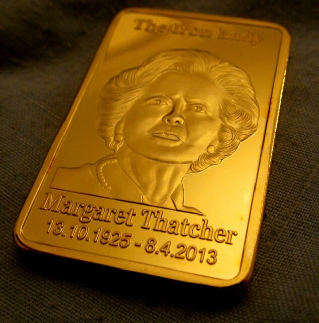 Margaret Thatcher 24Kt Gold Bar Primo Ministro del Regno Unito London Royal UK