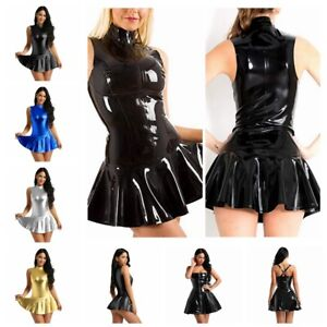 Womens-Faux-Leather-Party-Cocktail-Mini-Dress-Flare-Lady-Skater-Dresses-Clubwear