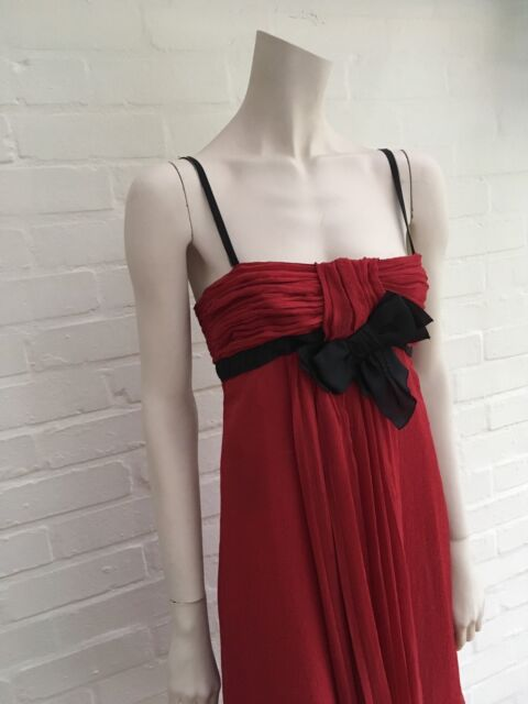 e5c47432b5a Most Wanted PRADA Red Silk-accented Midi Dress I 40 UK 8 US 4 S Small for  sale online