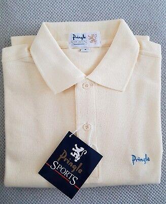 2019 Moda Pringle Sport Berwick Polo Con Maniche Corte. Taglia S. Colore Burro.-