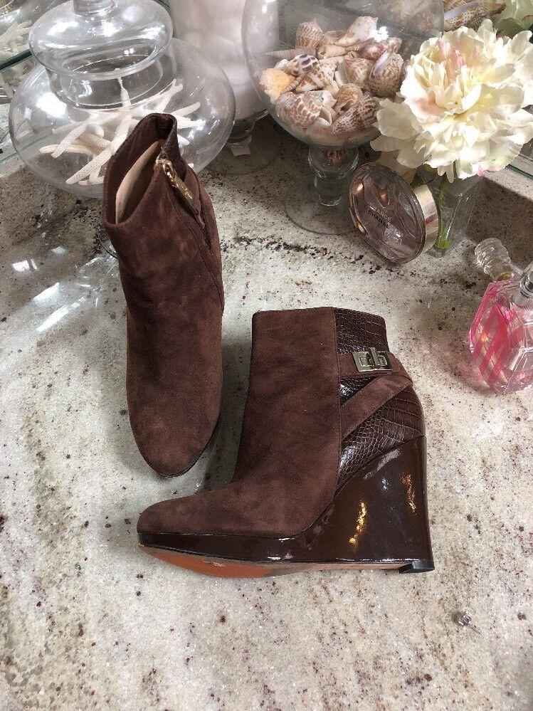 COLE HAAN VERDIE Women'sBrown Croc suede ankle wedge boots  5.5 B