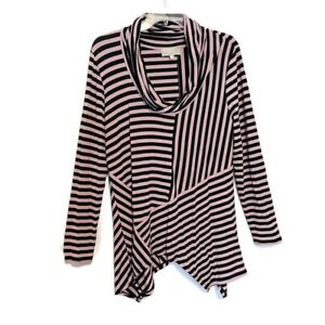 Joan-Vass-Tunic-Size-Large-Striped-Asymmetric-Hem-Cowl-Neck-Stretch-Long-Sleeve