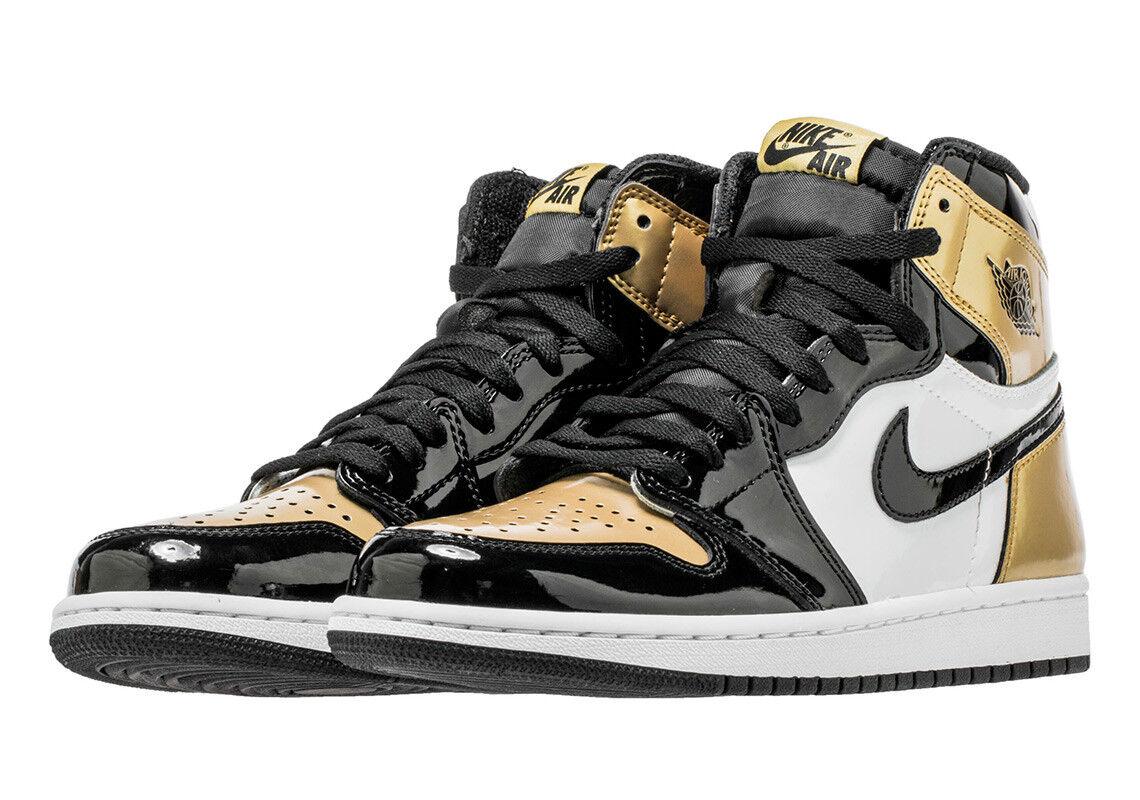 2018 Nike Air Jordan 1 Retro 11 Alta OG NRG Sz 11 Retro Oro Toe Blanco Negro 861428007 d555ed