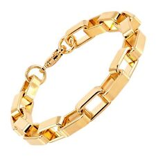 Italian-Made Open Box Link Bracelet in 18K Gold Plated Bronze, 7.5""