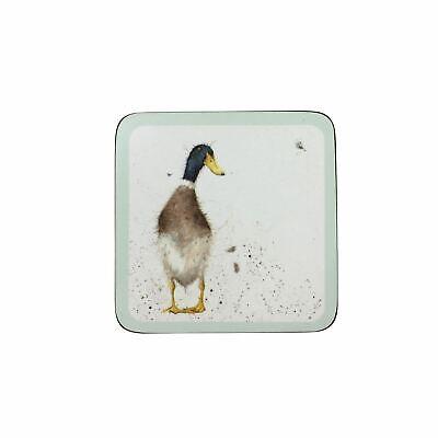 """Acquista A Buon Mercato 4 X Wrendale Duck Verde Bianco Sughero Sostenuto Coaster 10.5x10.5x0.5cm - 4x4x0.25""""-m - 4x4x0.25"""" It-it"""