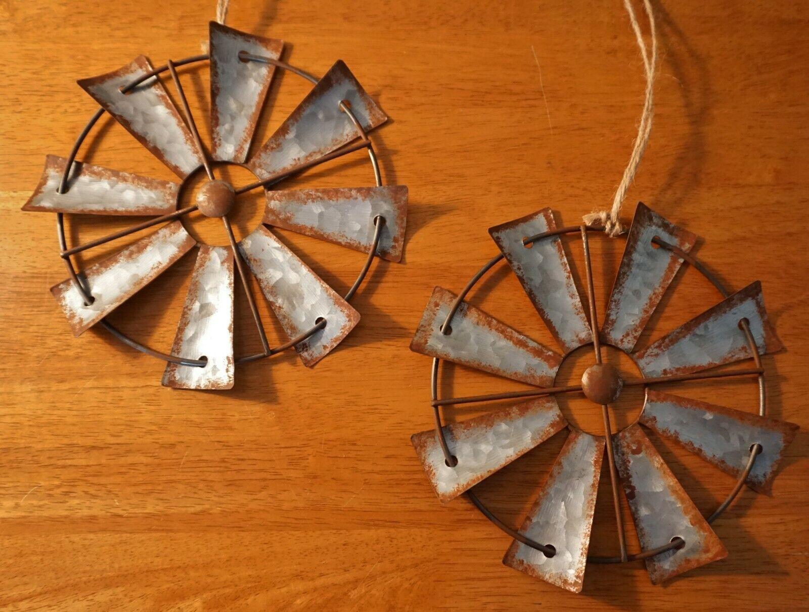 Set of 2 Amish Windmill Vintage Rustic Country Primitive Farm Farmhouse Decor 8