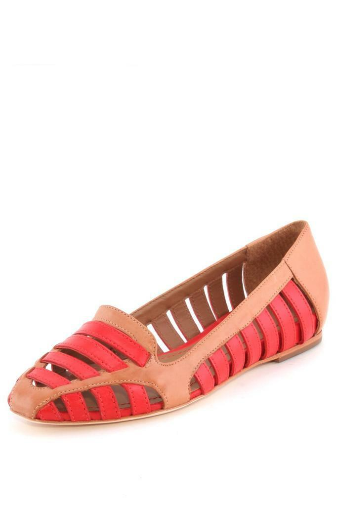 Elizabeth and James Gemma Loafer Nude Multi two tone cut out flats brown orange
