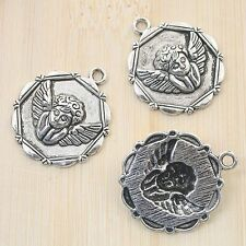 5Pcs  tibetan silver tone 25mm round buddha sign design charms H0991
