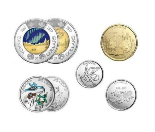 """2017 Canada /""""150/"""" **7 x Circulation Coins from Mint Rolls BONUS Color Coins/""""/"""""""