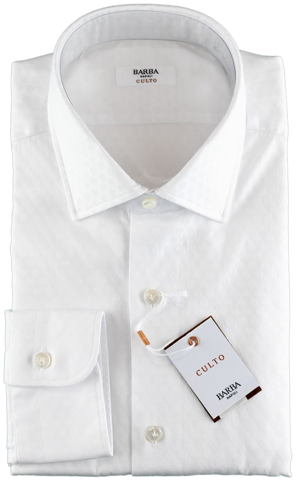 NWT BARBA NAPOLI hemd Culto Weiß polka dot handmade 41 16