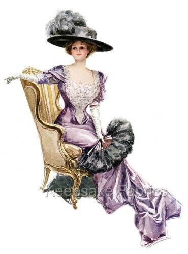 Fisher Lady In Purple With Ostrich Fan Quilt Block Multi Sz FrEE ShiP WoRld WiDE