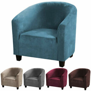 Stretch Velvet Club Sofa Chair Cover, Round Lounge Chair Covers